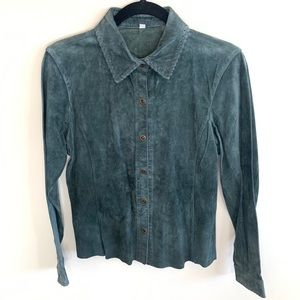 CAbi Green Suede Leather Shirt Button Down Blouse
